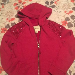 Girls Red Hoodie Sweater with Sequin Shoulders